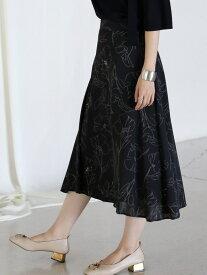 Bou Jeloud アートフラワーフレアスカート ブージュルード スカート フレアスカート ブラック ホワイト【送料無料】
