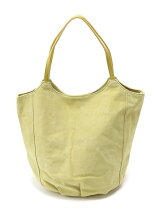PIG SUEDE*COW LEATHER HANDLE TOTE YELLOW
