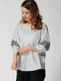 【SALE/34%OFF】ANNA LUNA TC先染め袖刺繍BL アンナルナ シャツ/ブラウス 長袖シャツ ホワイト ネイビー