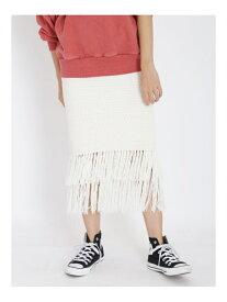 【SALE/50%OFF】Ungrid フリンジニットスカート アングリッド スカート スカートその他 ホワイト グリーン ブラウン【送料無料】