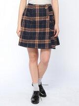 チェック柄フリル台形スカート