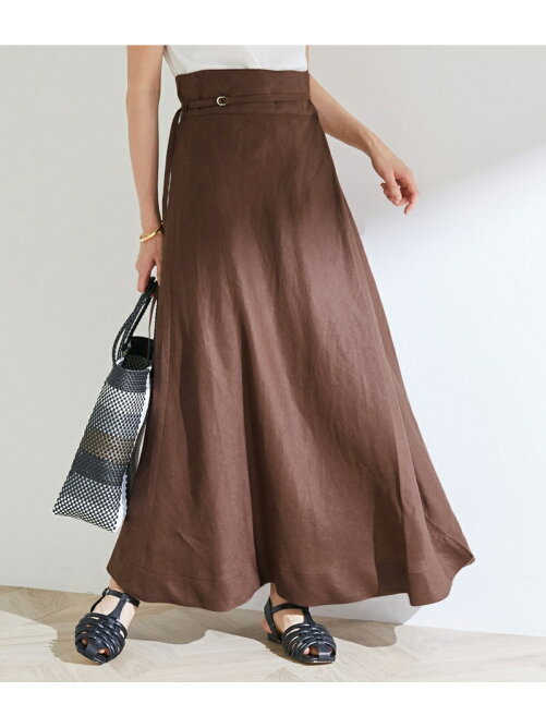 【ドラマ着用】【洗える】【セット対応】【一部WEB限定】リネンマキシ巻きスカート