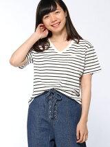【BROWNY STANDARD】(L)SILKCOTTON VネックTシャツ