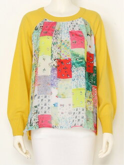 franche lippee franche lippee/ patchwork knit P/O franc Schlippe knit long sleeves knit yellow pink black
