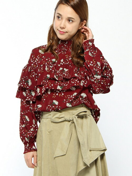 【安井レイさん着用】花柄フリルハイネックブラウス