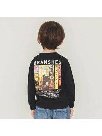 branshes 【WEB限定】袖口リブ長袖Tシャツ ブランシェス カットソー Tシャツ ブラック ホワイト ベージュ レッド パープル カーキ