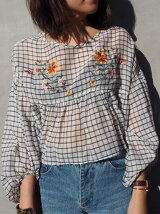 Embroidery Flare Blouse