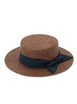 クロス編みラフィアカンカン帽