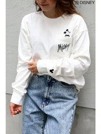 VENCE share style Disney(ディズニー)ミッキーポケット刺繍ロングスリーブT ヴァンス エクスチェンジ カットソー パーカー ホワイト ブラック
