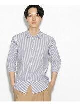 【汗染み防止】7分袖ストライプシャツ