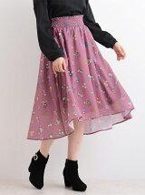 メッシュボタニカル花柄スカート
