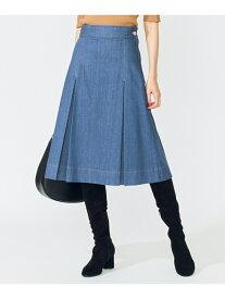 組曲 【洗える】AQUATIC DENIM タックフレアスカート クミキョク スカート デニムスカート ブルー ネイビー【送料無料】