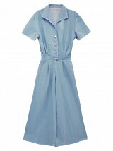 pearl button denim rompers