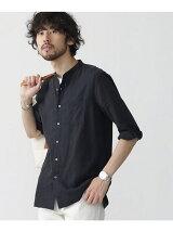 //リネン混バンドカラーシャツ 7/S