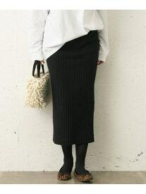 Sonny Label リッチソフトウールワイドリブスカート サニーレーベル スカート スカートその他 ブラック グレー【送料無料】