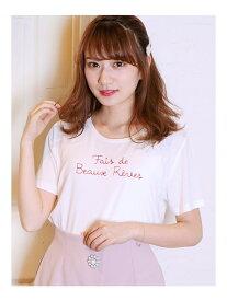 【SALE/48%OFF】dazzlin メッセージ刺繍Tシャツ ダズリン カットソー Tシャツ ホワイト ブラック オレンジ