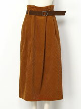 CORDUROY PLEATED MIDI SKTRT