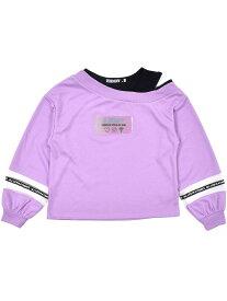 【SALE/30%OFF】ZIDDY 【一部店舗限定】ビニールロゴ レイヤード風 Tシャツ(130~160cm) ベベ オンライン ストア カットソー Tシャツ パープル ブラック