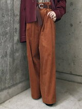 CORDUROY PLEATED WIDE TROUSERS