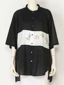 FRAPBOIS フラワーシャツ フラボア シャツ/ブラウス 半袖シャツ ブラック ブルー ホワイト【送料無料】