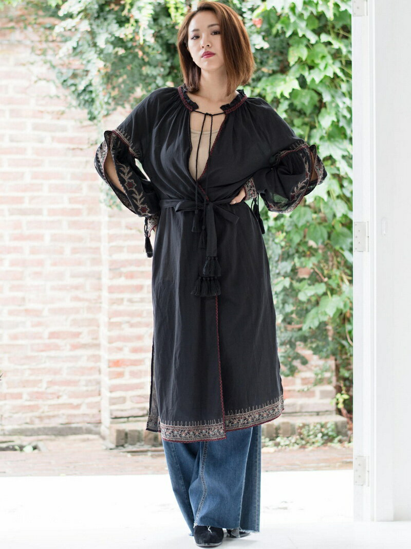 【SALE/33%OFF】goa INDIA ottoman embroidery2wayロングガウン    ニット【RBA_S】【RBA_E】【送料無料】
