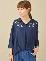 裾タック7分袖刺繍ブラウス