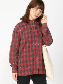 【SALE/60%OFF】Pauline bleu ペイントチェックシャツ ポリーヌブロー シャツ/ブラウス 長袖シャツ レッド