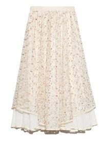 Lily Brown チュール刺繍スカート リリーブラウン スカート ロングスカート ホワイト ブラック レッド【送料無料】