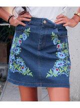 anapmimpiフラワー刺繍デニムミニスカート