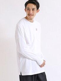coen USAコットンロングスリーブTシャツ コーエン カットソー Tシャツ ホワイト ブラック