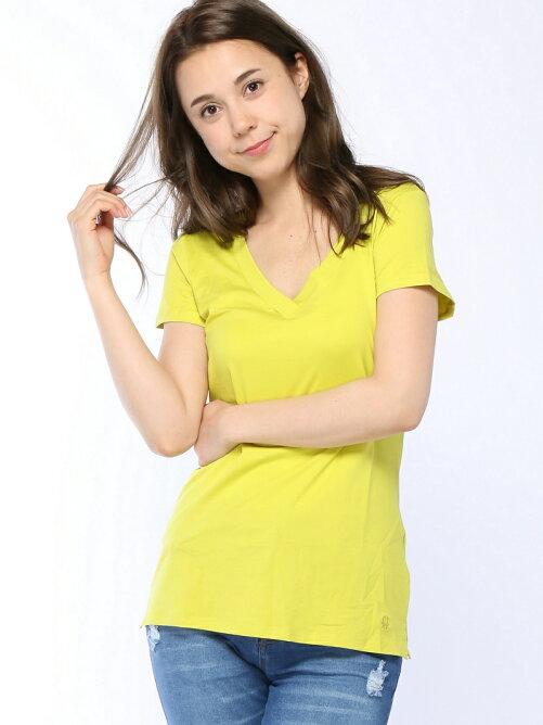 (W)プレーンベア天竺ロゴVネックTシャツ・カットソーTRA