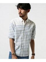 綿麻パネルボーダーシャツ7/S
