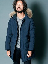 NYLON STAND HOOD FUR DOWN MODS COAT