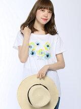 フラワーロゴプリントTシャツ