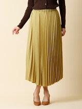 《WEB限定大きいサイズ》サテンプリーツスカート