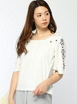 袖刺繍オフショルカットソー