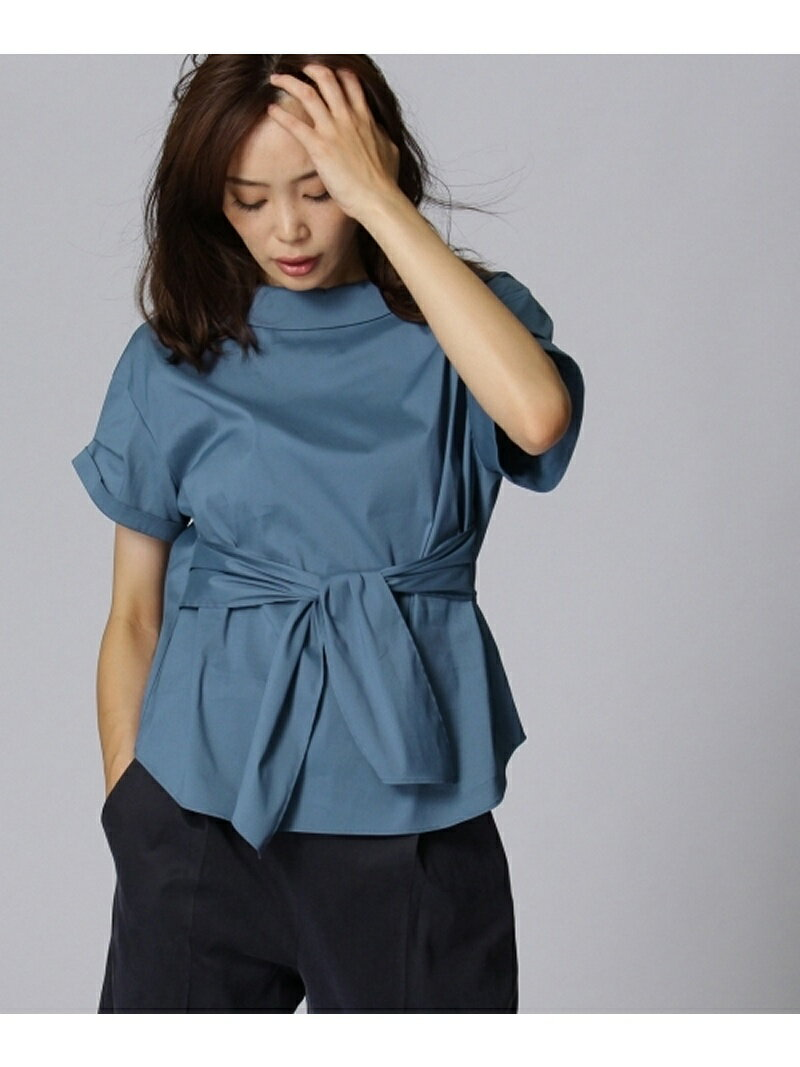 【SALE/50%OFF】UNTITLED [L]〔洗える〕オフタートル風ベルテッドシャツ アンタイトル シャツ/ブラウス【RBA_S】【RBA_E】【送料無料】