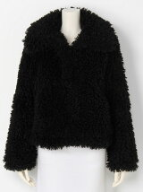 COLLAR BUBBLE SHORT FAKE FUR COAT