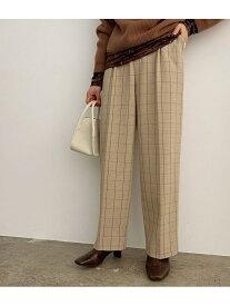 【SALE/10%OFF】ROPE' mademoiselle ハイウエストチェックワイドパンツ ロペ パンツ/ジーンズ パンツその他 ベージュ グレー【送料無料】