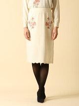 フラワー刺繍ニットスカート