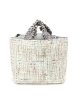 TWEED FRILL HANDLE TOTE(M) MINT
