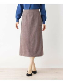 【SALE/12%OFF】grove マシュマロタッチスエードAライン グローブ スカート ロングスカート ブラウン ブルー