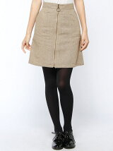 チェック・ツイードリングジップ台形スカート