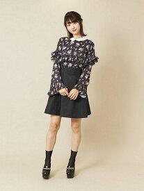 【SALE/27%OFF】titty&Co. タックボンディングスカート ティティー アンド コー スカート フレアスカート ブラック グレー パープル【送料無料】
