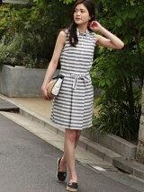 (W)コットンリネンストライプドレス