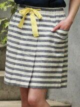 (W)リネンストライプスカート