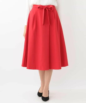 Flared skirt off ounce cart skirt and others red beige gray with the OFUON waist ribbon