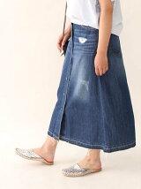 ライトデニムフロントボタンスカート