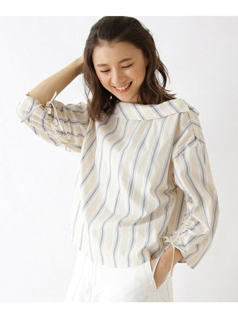 【SALE/50%OFF】ロールカラーストライプシャツ オゾック シャツ/ブラウス【RBA_S】【RBA_E】