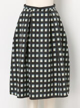 アートチェックプリントスカート